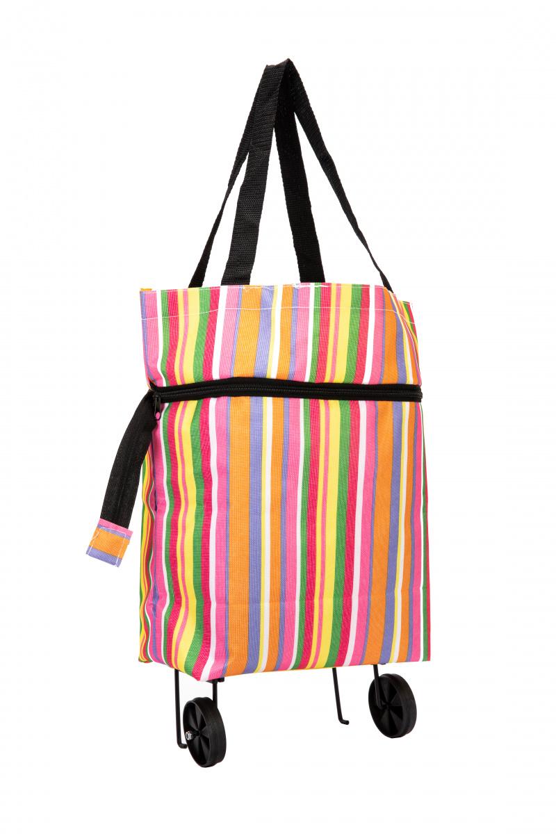 bec7afffdde3 Хозяйственная складная сумка с выдвижными колесиками, полоски купить ...