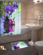 Шторы для ванной + коврик «Аура»