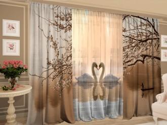 Комплект штор с цветной тюлью «Безмолвие лебедей»