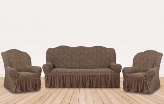 К-кт чехлов на 3-х местн. диван + 2 кресла  KAR-002 с оборкой