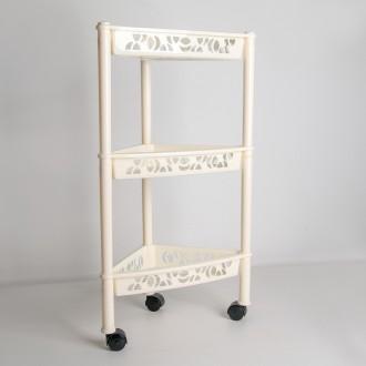 Этажерка на колесиках угловая  (3 яруса, цвет: слоновая кость)