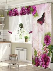 Шторы для окна с балконной дверью «Фиолет»