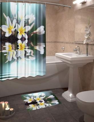 Шторы для ванной + коврик «Флорес»
