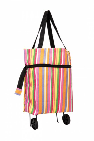Хозяйственная складная сумка с выдвижными колесиками, полоски