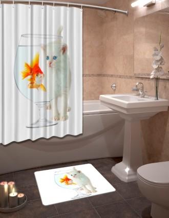 Шторы для ванной + коврик «Кэт с рыбкой»