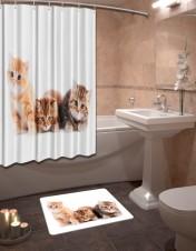Шторы для ванной + коврик «Котики»