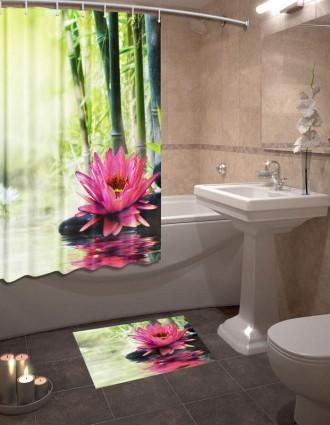 Шторы для ванной + коврик «Кувшинки»