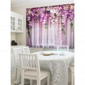 Тюль для кухни Ламбрекен из цветов