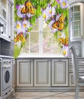 Фототюль для кухни углом «Лужайка»