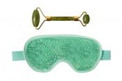Массажёр для лица нефритовый и гелевая маска для глаз