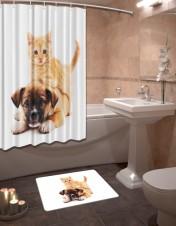 Шторы для ванной + коврик «Милая парочка»