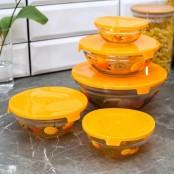 Набор салатников с крышками «Апельсин» (5 шт)