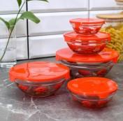 Набор салатников с крышками «Роза» (5 шт)