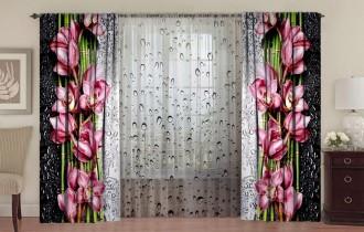Комплект штор с цветной тюлью «Орхидея на стекле с каплями»