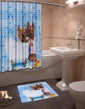 Шторы для ванной + коврик «Щенки в ванной»