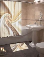 Шторы для ванной + коврик «Шелк»