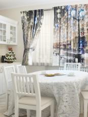 Шторы для кухни «Ночная Москва»