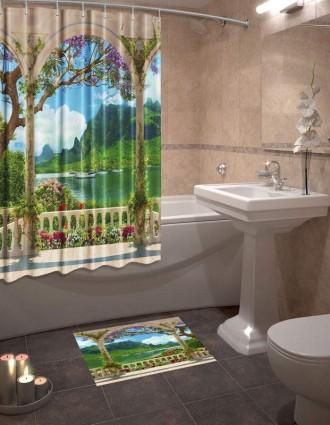 Шторы для ванной + коврик «Гавань»