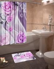 Шторы для ванной + коврик «Сочетание звуков»