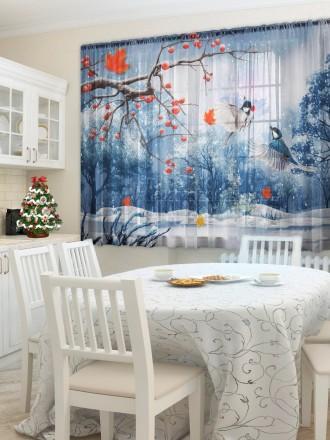 Тюль для кухни «Зимняя рябина»