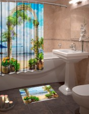 Шторы для ванной + коврик «Влечение»