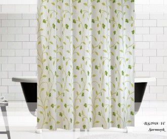 Штора для ванной Зелёные узоры