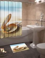 Шторы для ванной + коврик «Жемчужина»